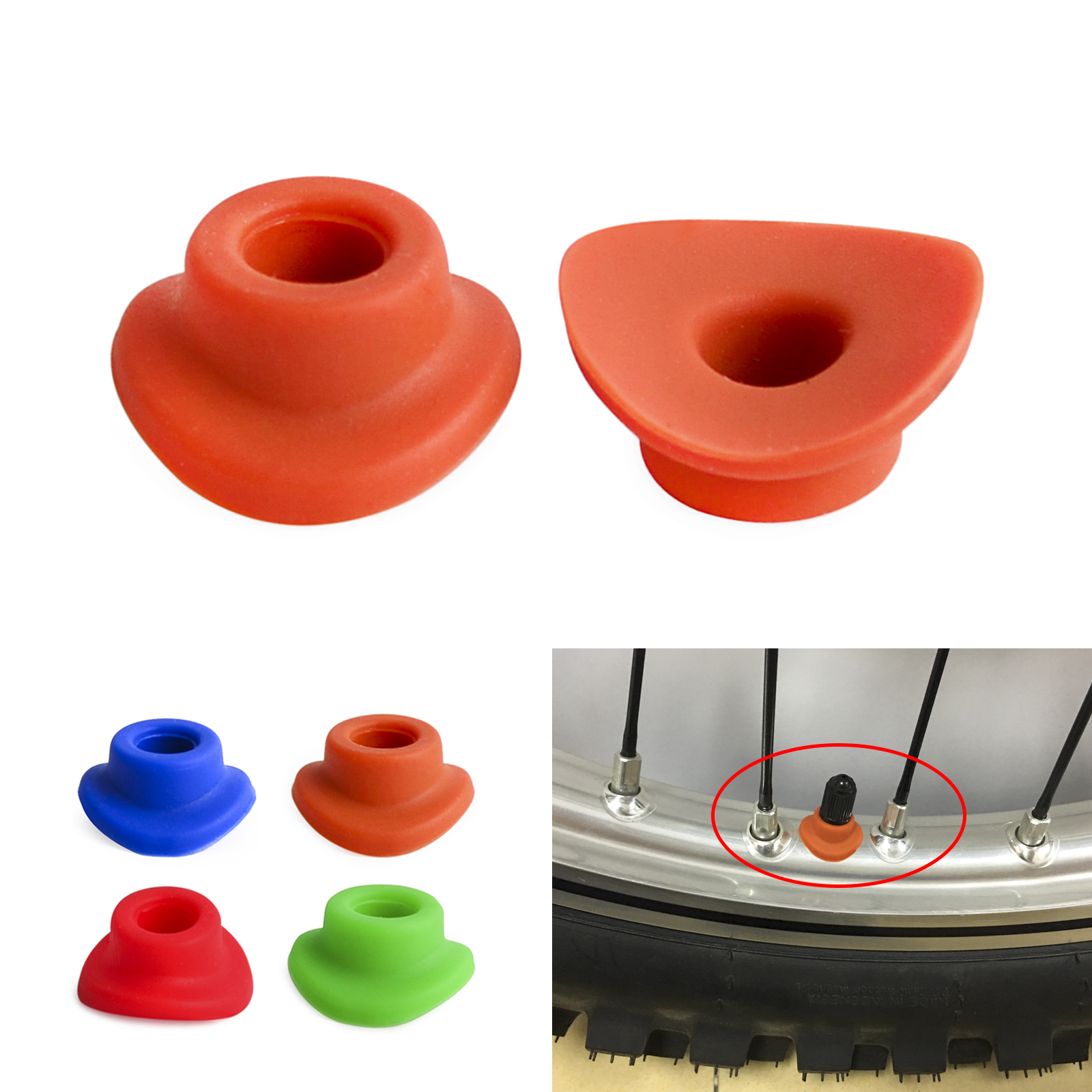 10x Air Valve Stem Mud Guard Silicone Rubber Waterproof Cap Universal Orange