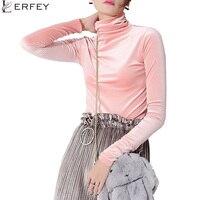 LERFEY Autumn Women Turtleneck Velvet Tops Winter Bottoming Shirt Basic Solid T Shirts Long Sleeve Slim
