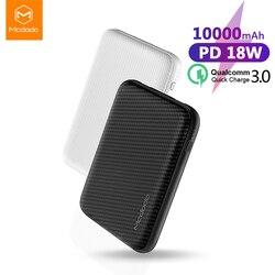 Mcdodo Tipo C PD Carregamento Rápido Banco De Potência 10000mAh Carga Rápida USB 3.0 Powerbank Bateria Externa para Xiaomi IPhone poverBank