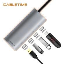Cabletime USB C HUB 4 port USB 3.0 Type C 3.1 Splitter with PD For Laptop MacBook Samsung Galaxy S9/S8/Note 9 USB C Adapter N136 ugreen usb c hub aluminum usb 3 0 hub 4 ports type c 3 1 splitter with pd for macbook pro samsung galaxy s9 s8 note 9 usb c hub