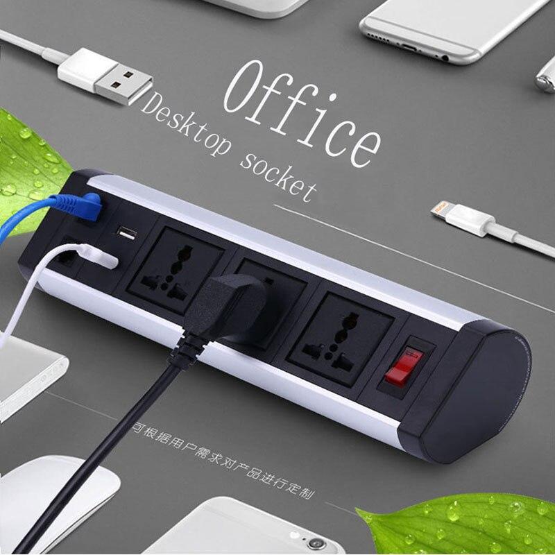 2 USB 220 V 10A ordinateur de bureau prise panneau meubles table clip prise
