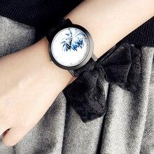 Regalo de la señora con estilo simple reloj Enmex correa elegante tendencia Retro de la manera Bufandas pretty lace flores correa de reloj de pulsera de cuarzo