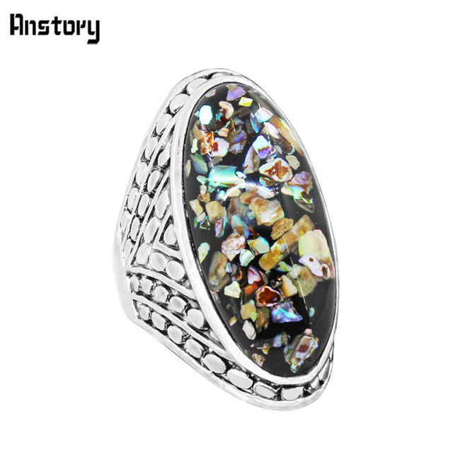Big Oval Shell Bead Rings For Women Vintage Antique Silver Plated Fashion Jewelr