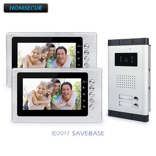 HOMSECUR 2 Units Apartment 7 Wired Video Door Phone Intercom Entry System Visual Audio