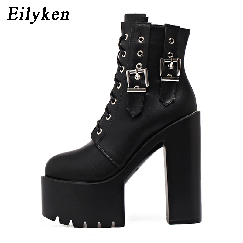 Eilyken Fashion 2020 New Autumn Women Ankle Boots Platform Buckle Strap Lace Up Leather Boot Black Ladies Shoes Motorcycle boots