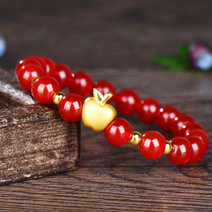 New Pure 999 24K Yellow Gold Bracelet 3D Lucky Apple & 3mm Fine Beads Red Agate Beads ChainNew Pure 999 24K Yellow Gold Bracelet 3D Lucky Apple & 3mm Fine Beads Red Agate Beads Chain