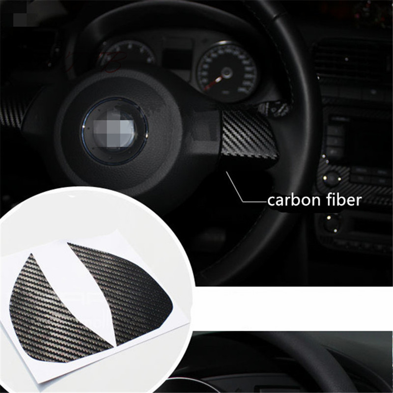 Steering Wheel Decoration carbon fiber 3D car <font><b>sticker</b></font> For Volkswagen <font><b>VW</b></font> GOLF 6 POLO JETTA MK5 MK6 Bora <font><b>Touran</b></font> Tiguan Car Styling image