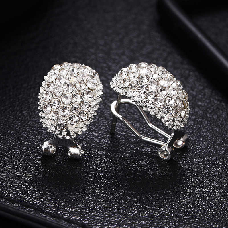 Bride 1Pair Stud Earring Zircon Glisten Crystal Exquesite Korean Romantische High Quality Fashion Jewelry Unique Silver