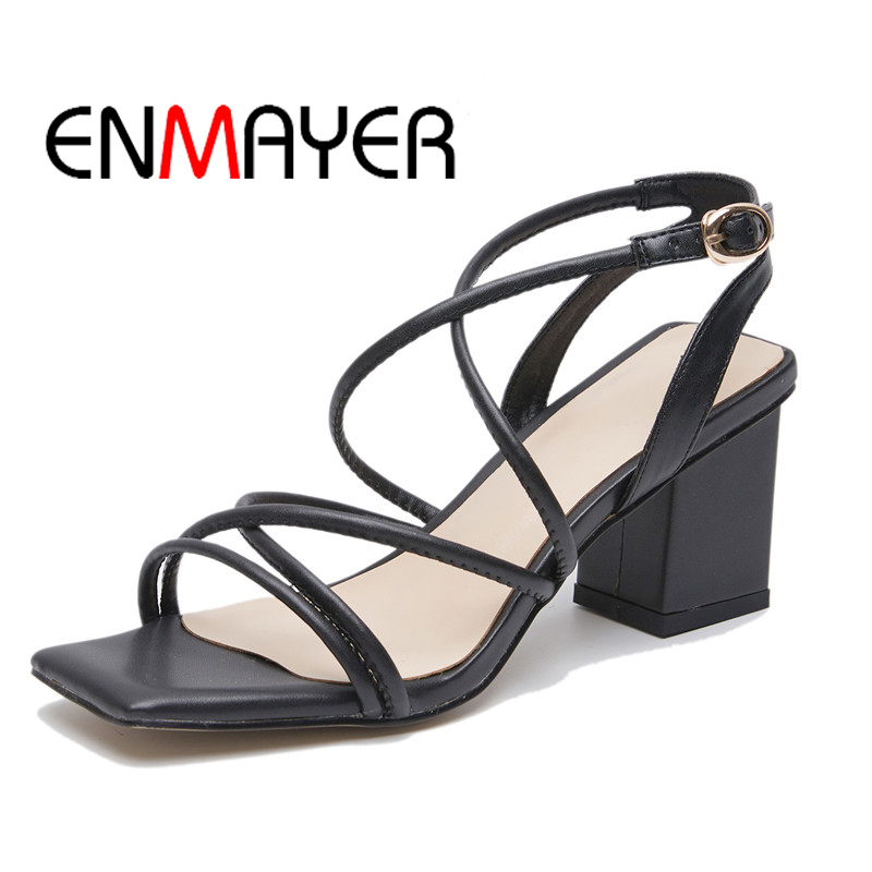 ENMAYER Square Heel Casual Shoes Hand-Made Women Sandals Spring Summer Ladies Kid Buckle