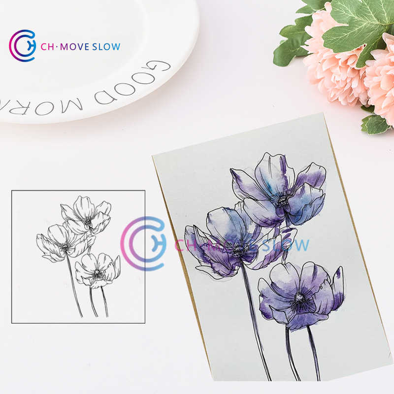 CH Flower11 Clear stamp Seal Yourself Scrapbooking Album Sheets Clear Card Stamps Scrapbooking Die Cut