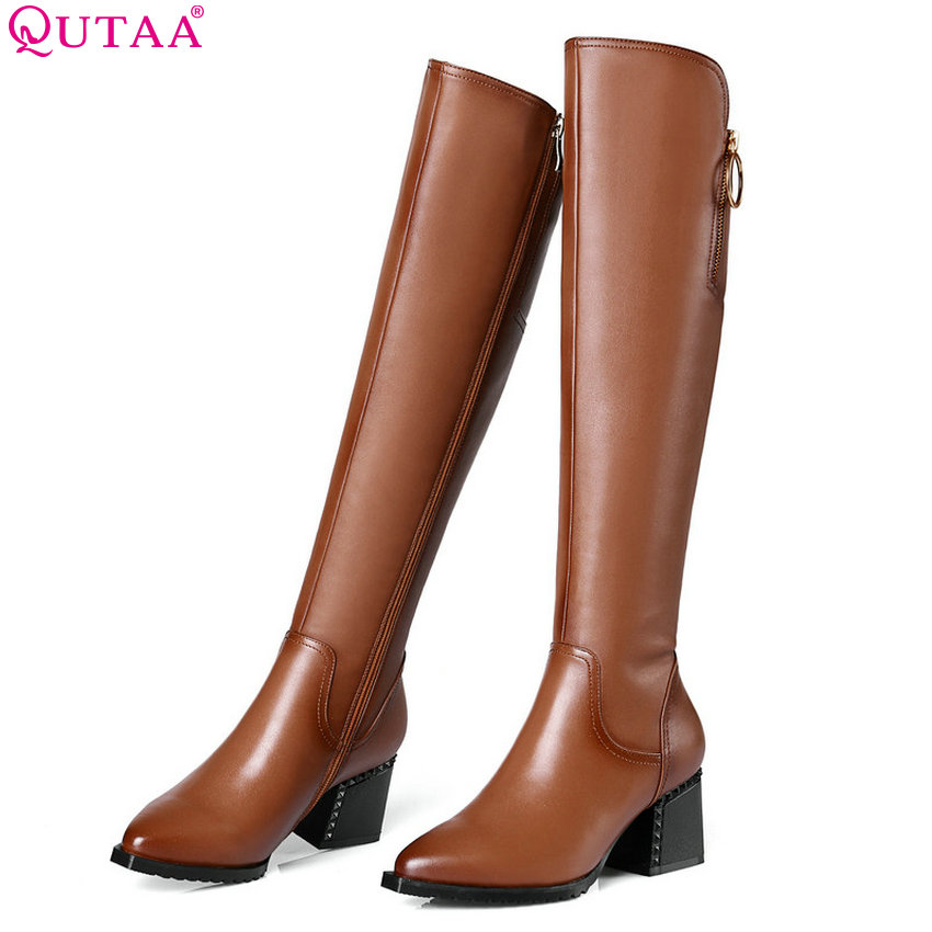 QUTAA 2019 Women Knee High Boots All Match Platform Zipper Cow Leather+Pu High Quality Winter Boots Women Shoes Big Size 34-42 qutaa 2019 winter boots women ankle boots all match platform zipper square high heel cow leather pu women boots big size 34 39