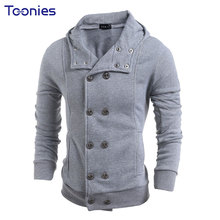 2017 New Casual Hoodies Sweatshirt Men Autumn Winter Slim Fitness  Double Breasted Hooded Fashion Streetwear Grey Black 3 Color