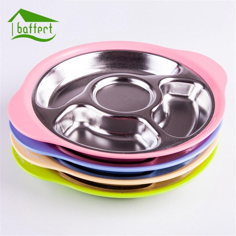 Stainless Steel Kids Plate Baby Tableware Dinnerware