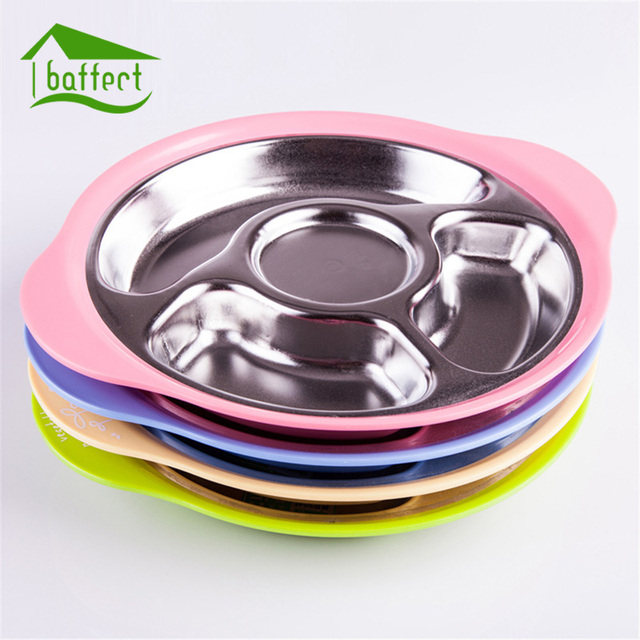 Stainless Steel Kids Plate Baby Tableware Dinnerware Suction Bowl with Temperature Sensing Spoon baby food Baby & Stainless Steel Kids Plate Baby Tableware Dinnerware Suction Bowl ...