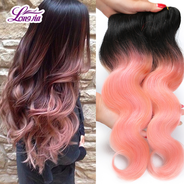 Brazilian Pink Weave Hair Body Wave Rose Gold Ombre Hair Extension 2