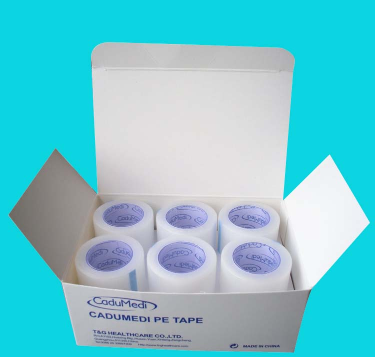 1rolls 2.5cm*5m Pe Steel Tape Surgical Pe Adhesive Tape PE Protective Film Tape Medical Perforated Breathable Medical Pe Tape