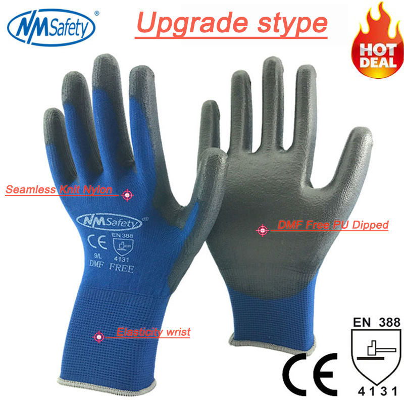 NMSAFETY 12 pairs Cheap Colorful Comfortable Black Polyester Nylon Safety Work Gloves