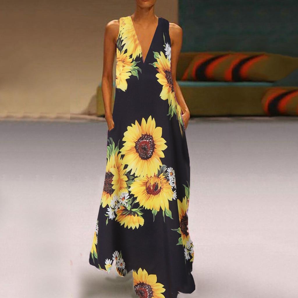 Vestido largo de verano señoras con cuello en V de girasol sin mangas sueltas