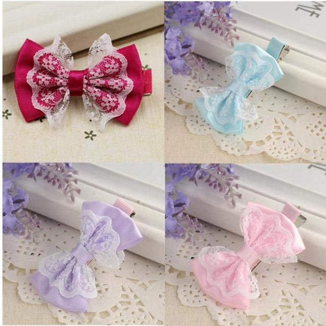 2018 Best Cute Lace Bowknot Hair Clips Beautiful Baby Hairpin Child Accessories Coroa