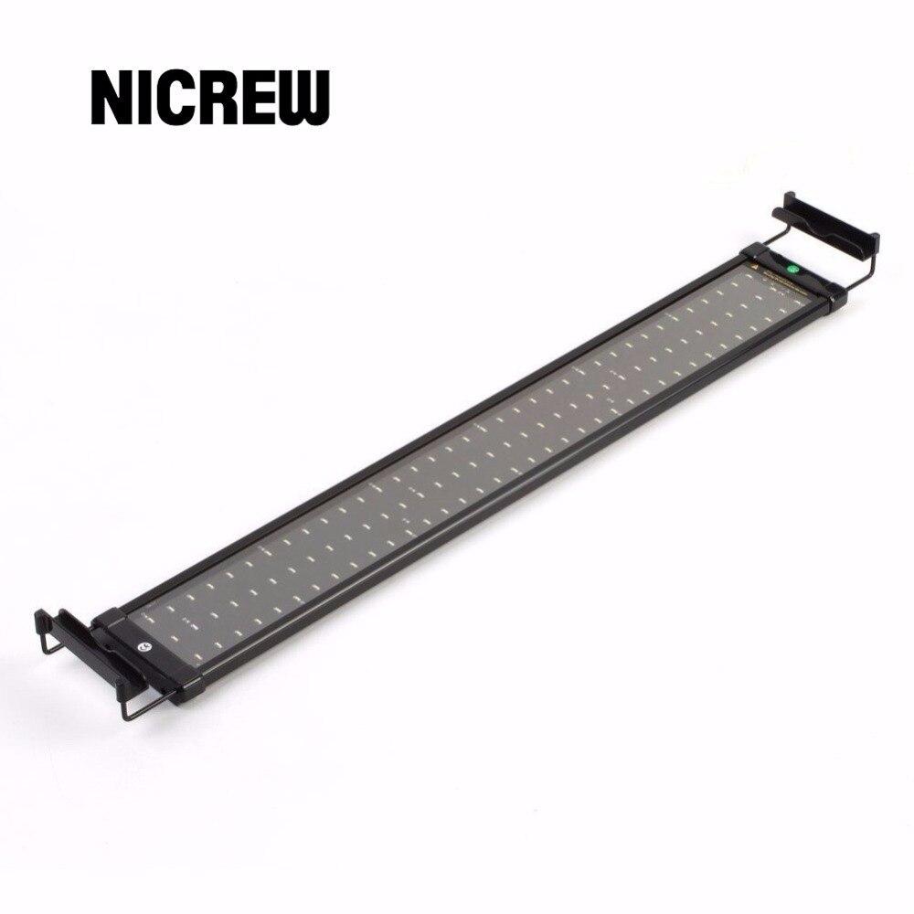 Nicrew 72-94 cm CONDUZIU a Iluminação Do Aquário Do Tanque de Peixes Da Lâmpada de Luz com Suportes Extensíveis 90 Branco e 18 Azul LEDs Se Encaixa para Aquário