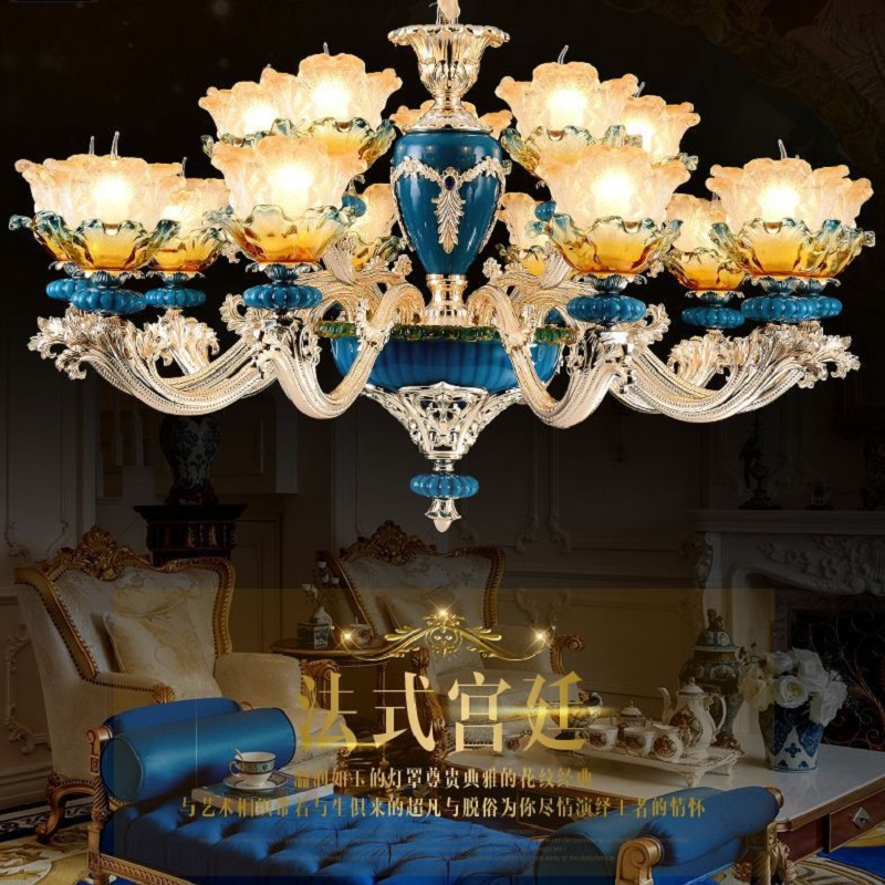 Luxury Zinc Alloy Led Crystal Chandelier Lustre European Royal Court Villa Living Room Bedroom