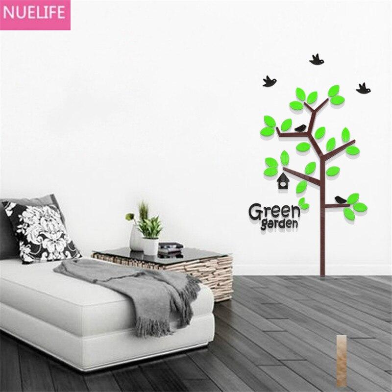 Papillon vert plante acrylique stickers muraux salon chambre enfants chambre TV canapé fond mur décoratif stickers muraux