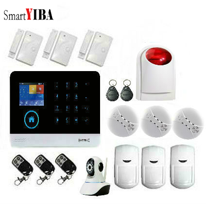 все цены на SmartYIBA Home Security Protection GSM SMS Wireless WIFI Alarm System Kits Wireless Siren Smoke Detector PIR Window Sensor Alarm онлайн