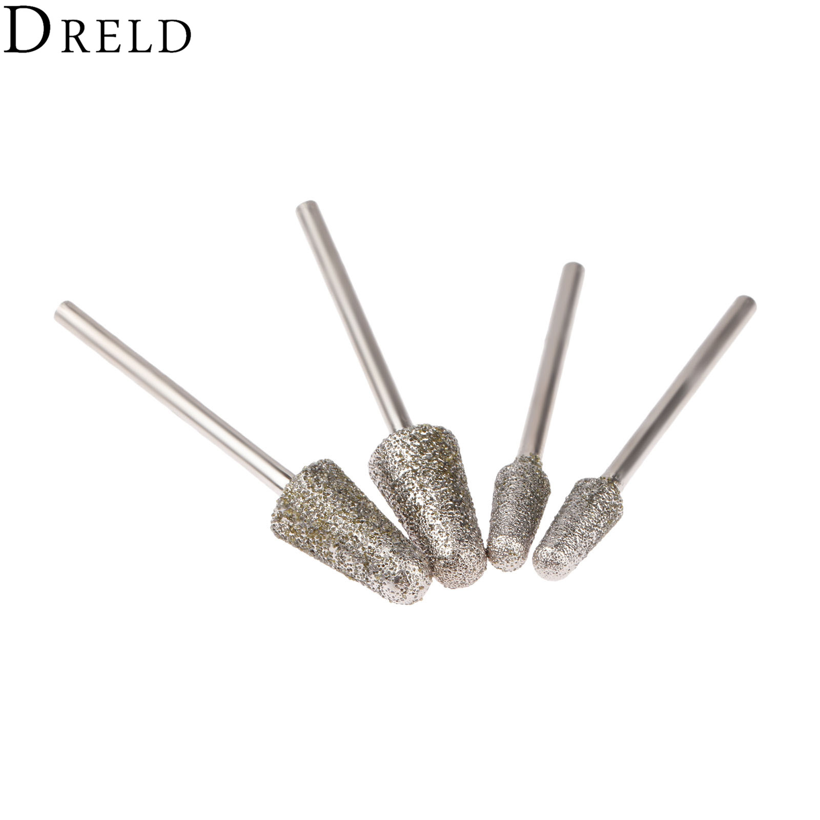 DRELD 4Pcs Dremel Accesories Mini Drill Diamond Grinding Head Burrs Bits 3mm Shank Carving Polishing Cutting Engraving Tool 60#