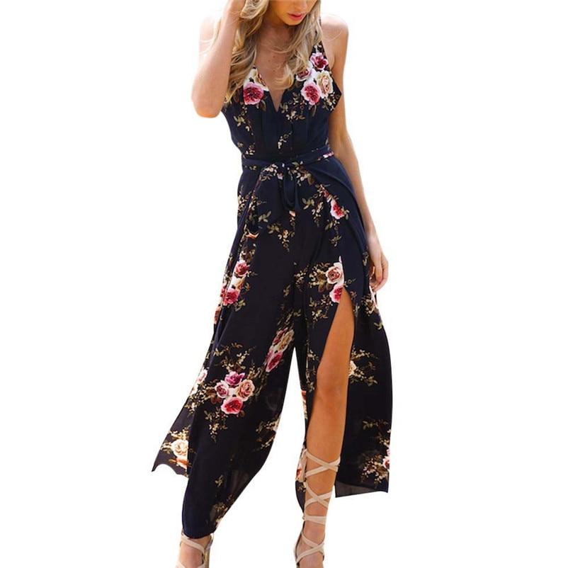 NEW Fashion summer jumpsuit woman 2018 Sleeveless Floral Print Jumpsuit Summer Loose Playsuit Rompers pantaloni siamesi J28#N (6)