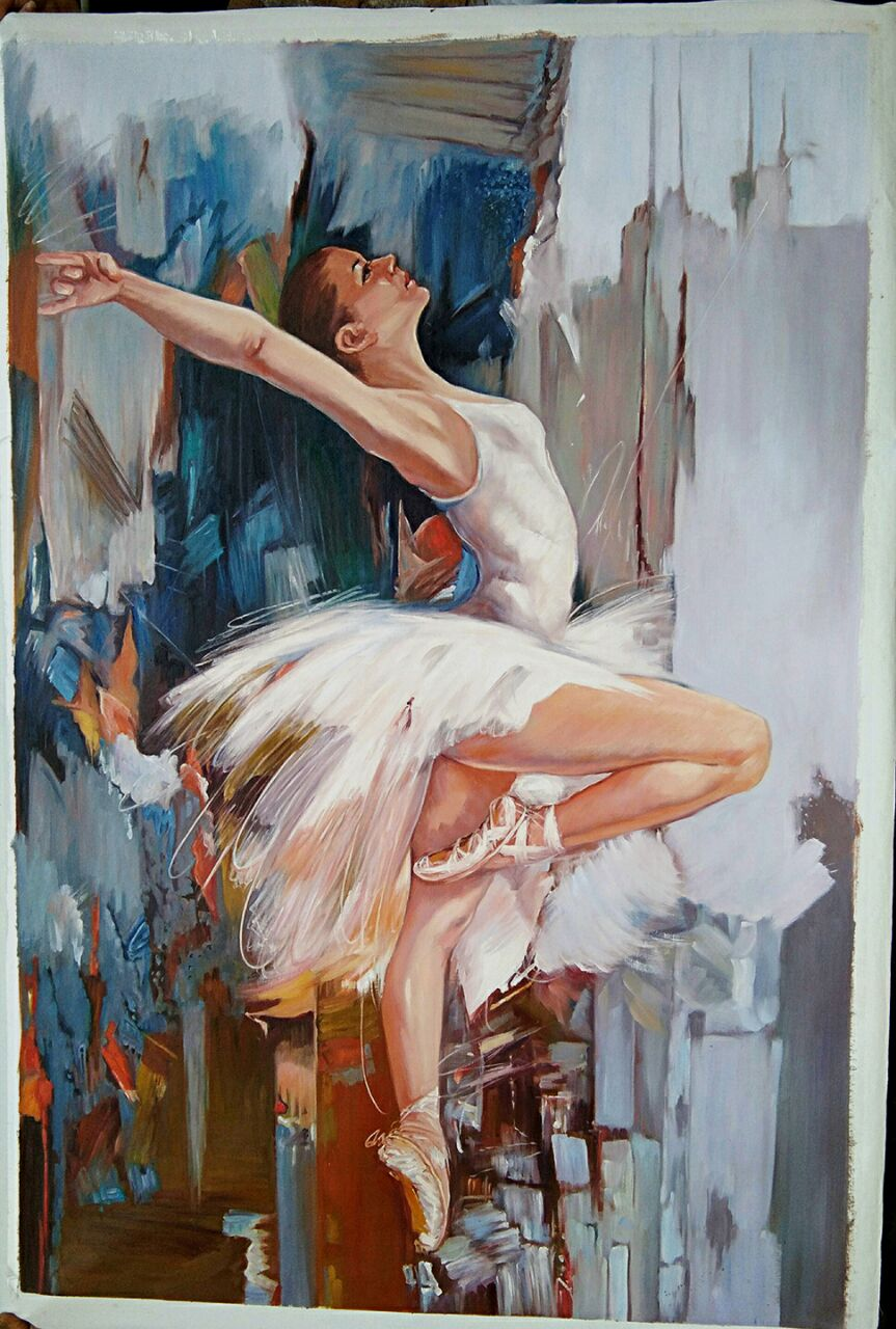 Ballerina Oil Painting by Mahnoor Mano Shah