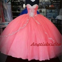 Quinceanera-Dress Debutante-Gowns Sweet 16 Pink ANGELSBRIDEP Floor-Length Embroidery