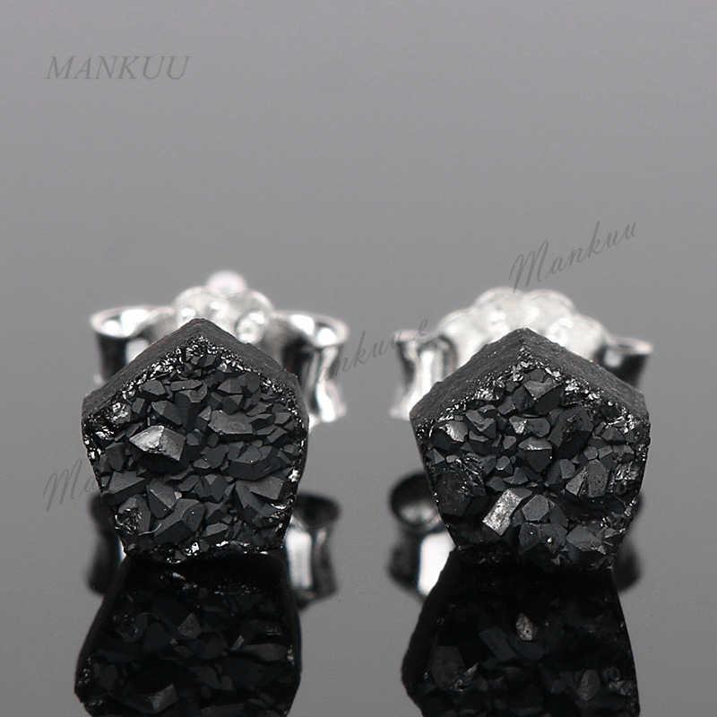 Mankuu Tiny 4 มิลลิเมตรหินต่างหู 925 เงินสเตอร์ลิงต่างหูขนาดเล็กเงา Pentagram ต่างหูคริสตัลสำหรับสุภาพสตรี