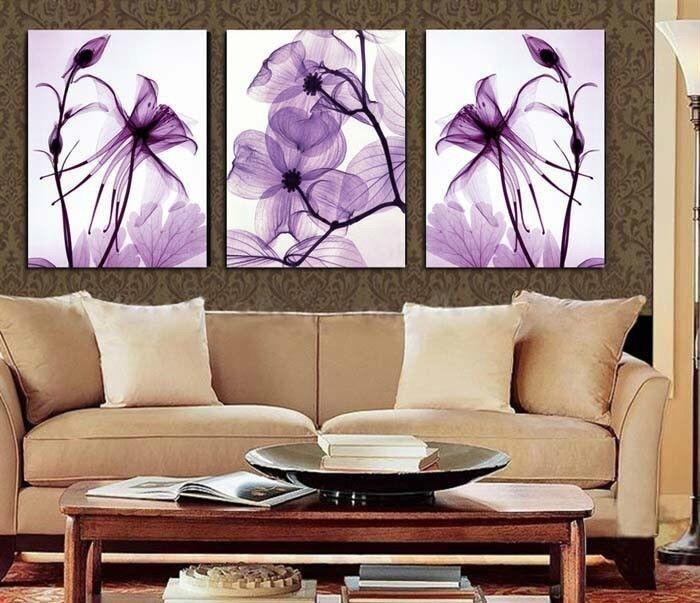 Vente chaude Transparent fleurs violettes peinture à l'huile sur toile ensemble Art abstrait moderne décoration murale image 3 pièce 16X24