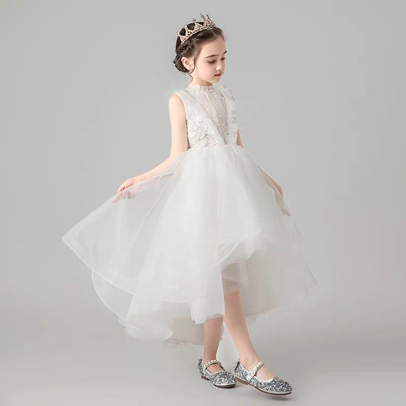 Image 3 - Children Little Girls Solid White Birthday Holiday Party Front 
