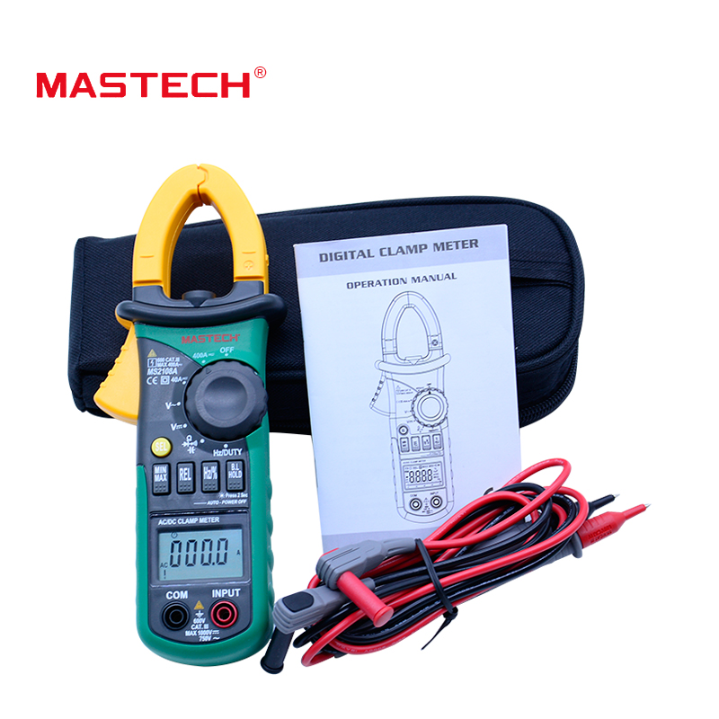 MASTECH MS2108A Digital Clamp Meter  Auto range Multimeter AC 400A Current Voltage Frequency clamp MultiMeter Tester Backlight digital clamp meter mastech ms2108a auto range multimeter ac 400a current voltage frequency clamp multimeter tester backlight