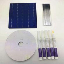 100 pièces polycristallall cellule solaire 6x6 avec 120 M fil de tabulation 10 M fil de barre omnibus et 5 pièces stylo de Flux
