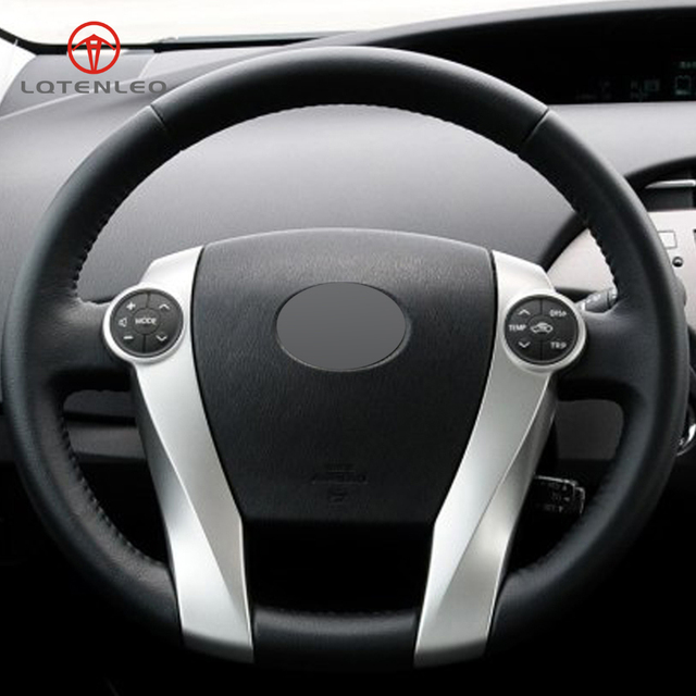 Lqtenleo Black Artificial Leather Hand Sched Car Steering Wheel Cover For Toyota Prius 2009 2017 Aqua