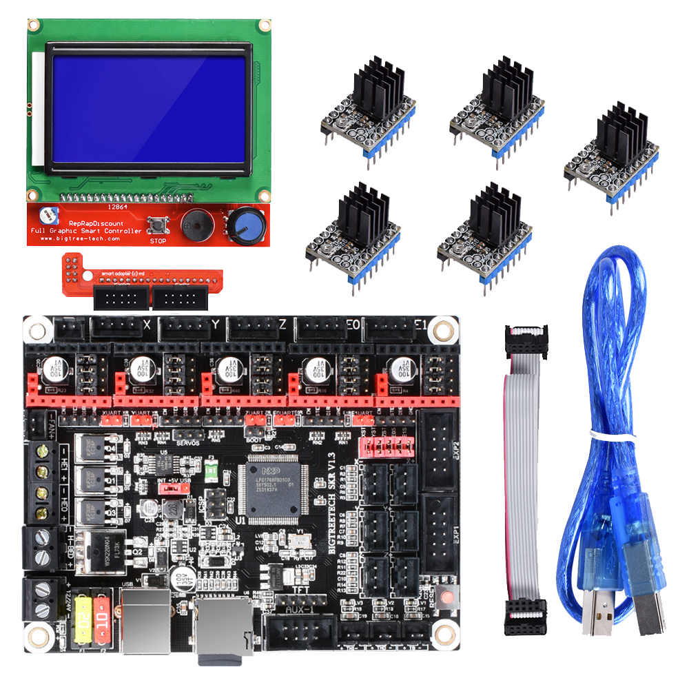 BIGTREETECH SKR V1.3 Board Smoothieboard 32 Bit+12864 LCD A4988 DRV8825 TMC2208 TMC2130 Ramps 1.6 MKS GEN L 3D Printer Parts
