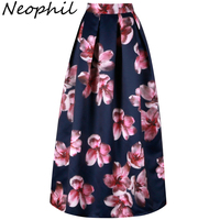 Neophil Flower Floral Print High Waist 2017 Fashion Vintage Satin Muslim Women Pleated 100cm Maxi Long