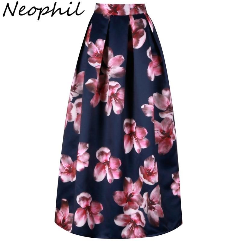Neophil Flower Floral Print High Waist 2019 Fashion Vintage Satin Muslim Women Pleated 100cm Maxi Long Skirts Saias Longa MS1017