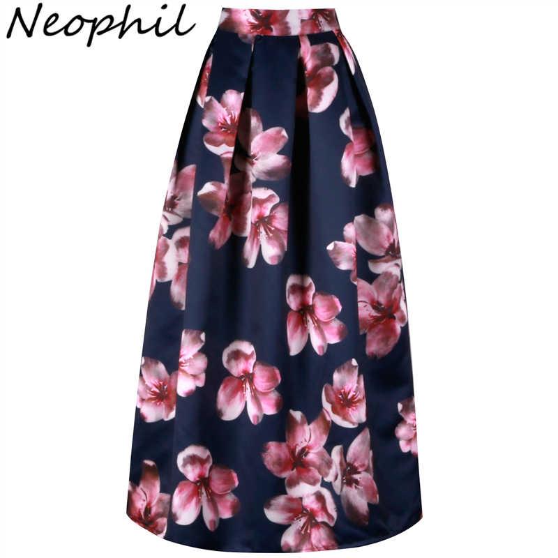 11dff39873 Neophil Flower Floral Print High Waist 2019 Fashion Vintage Satin Muslim Women  Pleated 100cm Maxi Long