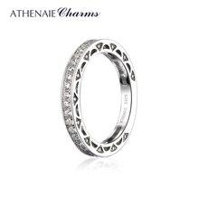 ATHENAIE plata esterlina 925 Cubic Zirconia anillo apilable eternidad bandas para las mujeres boda Color blanco