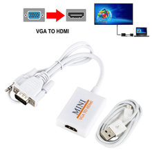 Kualitas Tinggi Portabel Colokkan dan Mainkan VGA Ke HDMI Output 1080 P HD Audio TV AV HDTV PC Kabel Video VGA2HDMI Converter Adaptor Kawat(China)