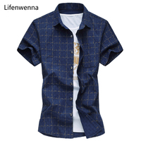 Hot 2016 New Fashion Brand Mens Shirt Short Sleeve Slim Fit Plaid Shirt Men Summer Casual