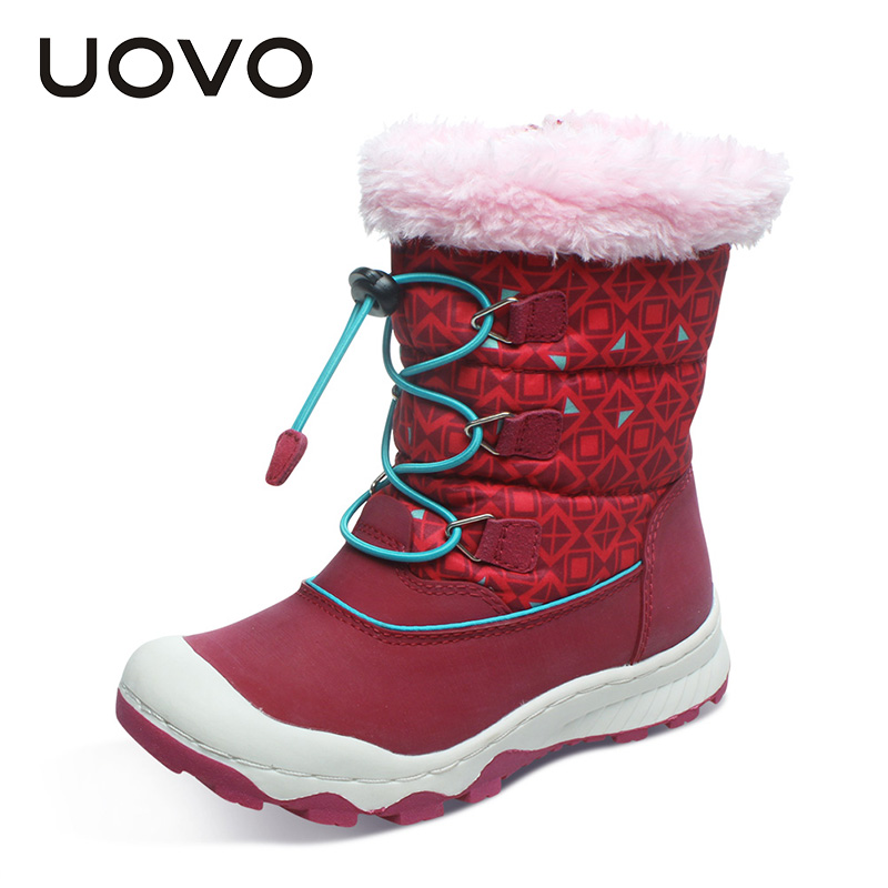 UOVO Newest Children Boots Waterproof Girls Boots Warm Kids Snow Boots Zip and Bungee Lacing Sport Boos for Girls Non-slip