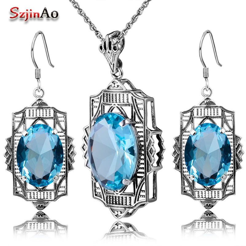 Szjinao Fashion Aquamarine Jewelry Set 925 Sterling Silver Classic Pendant Earring Jewelry Set Women Vintage Wedding Decorations