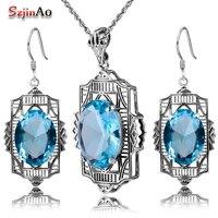 Szjinao Fashion Aquamarine Jewelry Set 925 Sterling Silver Classic Pendant Earring Jewelry Set Women Vintage Wedding Decorations