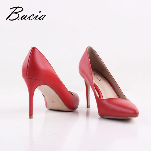 Bacia New Sheep skin High Heels Women Genuine Nutural Leather Pumps Fashion Elegant Wedding Pink Red Shoes Handmade shoes VB039