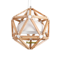 Creative Geometric art pendant lights. Pentagonal dodecahedron suspension lamp wood iron Loft style hanging lights