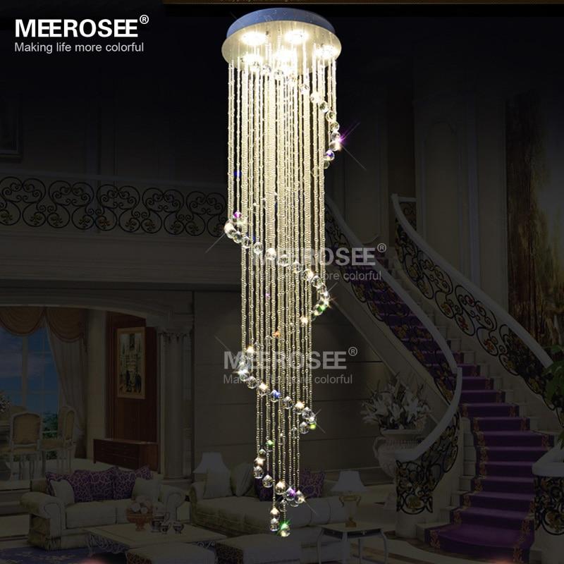 Spiral long crystal ceiling light fixture lustres de for Long ceiling light fixture